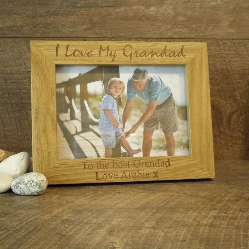 Personalised Wooden Photo Frame I Love My Grandad Gift